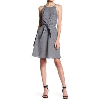 Soprano Womens Small Gingham Tie-Waist A-Line Dress