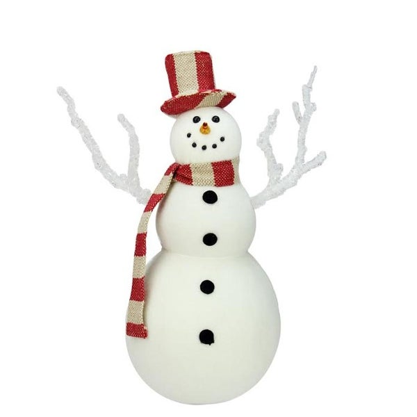 "12.5"" Snowman with Red and White Striped Scarf and Top Hat Christmas Figure Decoration"