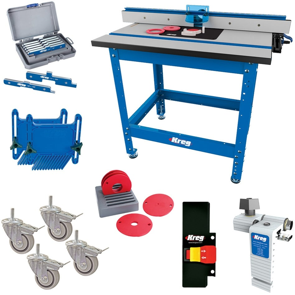 Kreg Multi-Purpose Shop Stand with Precision Router Table Top and Fence Bundle - Blue (Blue)