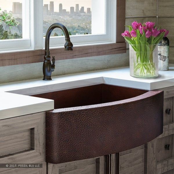 Shop Luxury 33 Inch Copper Farmhouse Kitchen Sink, Hammered Finish, Single Bowl, Curved Front