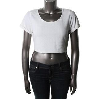 Love, Fire Womens Crop Top Textured Cuff Sleeves