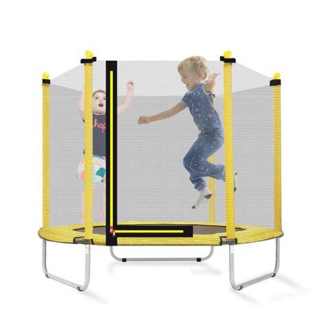 """60"""" Round Outdoor Play Toys Trampoline with Enclosure Netting"""