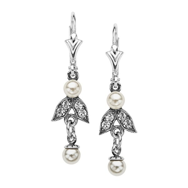 Van Kempen Victorian Simulated Pearl and Swarovski Elements Drop Earrings in Sterling Silver