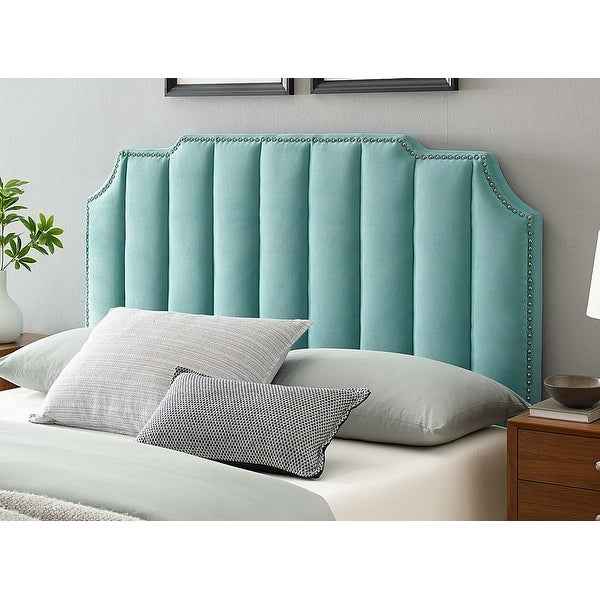 Littleton Channel Tufted Light Green Velvet Upholstered Twin Size Headboard with Nailhead Trim. Opens flyout.