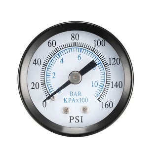 "Pressure Gauge , 0-160 PSI/0-10 BAR Dual Scale , 1.4"" Dial Display , 1/8"" NPT"