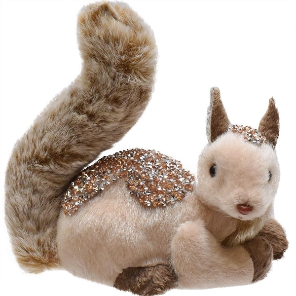 "7"" Champagne and Brown Embellished Squirrel Christmas Table Decoration"