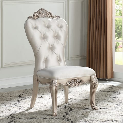 Gracewood Hollow Kashiwagi Antique White Side Chairs with Cream Fabric Upholstery (Set of 2)