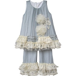 Isobella & Chloe Little Girls Gray Vicki Two Piece Pant Outfit Set 2T-6X