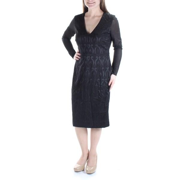 Shop Catherine Womens Black Long Sleeve V Neck Knee Length Dress