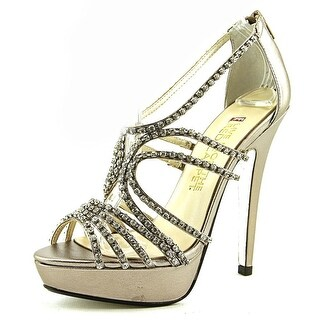E! Live From The Red Carpet Elvira Women Open Toe Canvas Silver Sandals