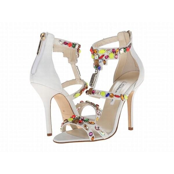 Oscar de la Renta NEW White Shoes Size 7M Open Toe Leather Heels