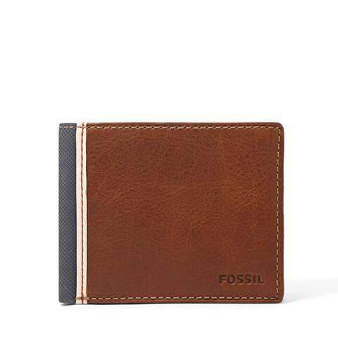 Fossil Mens Elgin Genuine Leather Traveler Bifold Wallet w/ Flip ID Billfold - Brown - One Size