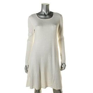 Calvin Klein Womens Ribbed Knit Long Sleeve Sweaterdress