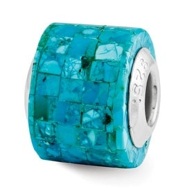 Sterling Silver Reflections Turquoise Mosaic Bead (4mm Diameter Hole)
