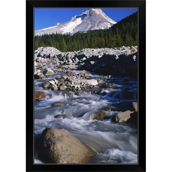"""""""River and forest below Mt Hood, Oregon"""" Black Framed Print"""