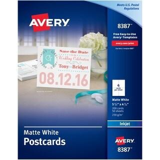 """Avery Matte White Postcards 5.5""""X4.25"""" 200/Pkg-For Inkjet Printers"""