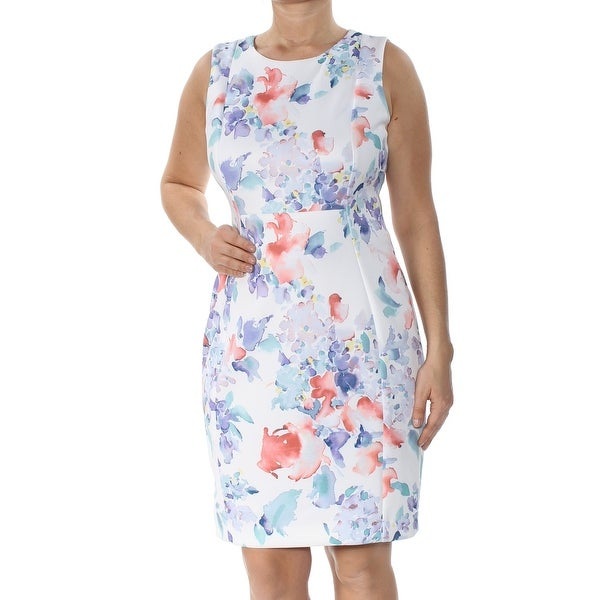 f08836e4 Shop CALVIN KLEIN Womens White Floral Sleeveless Jewel Neck Above The Knee  Sheath Formal Dress Petites Size: 12 - Free Shipping On Orders Over $45 ...