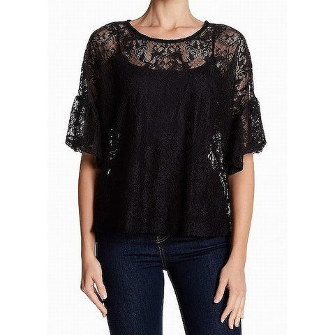 Bobeau Women's Large Damask Lace Illusion Blouse
