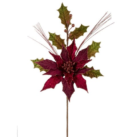 """20"""" Red Glittering Contemporary Floral Poinsettia and Holly Stem"""