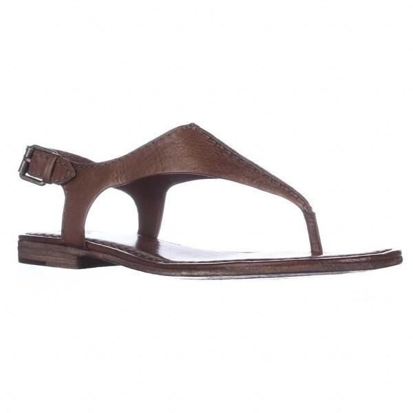 FRYE Carson Seam T-Strap Flat Sandals, Cognac