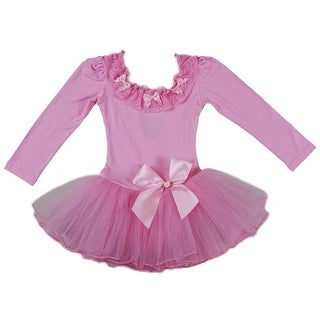 Wenchoice Girls Pink Lace Trim Bows Long Sleeve Ballet Dress