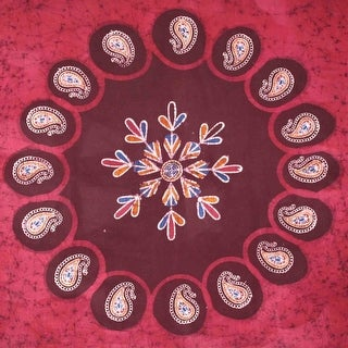 Handmade 100% Cotton Multi Batik Paisley Floral Tapestry Bedspread 60x90 Red