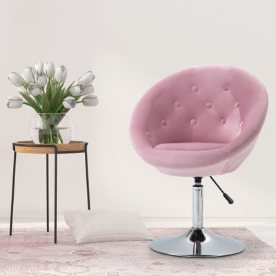 HOMCOM Swivel Accent Chair Modern Makeup Vanity Chair Adjustable Height Leisure Lounge Chair