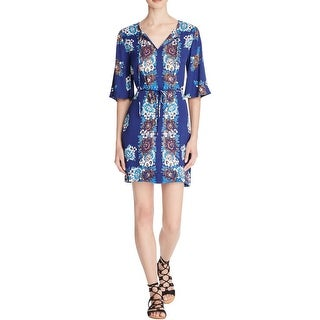 Ella Moss Womens Casual Dress V-Neck Floral Print