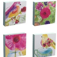 "Pack of 8 Decorative Watercolor Assorted Bird and Flower Wall Plaques 8"" - White"