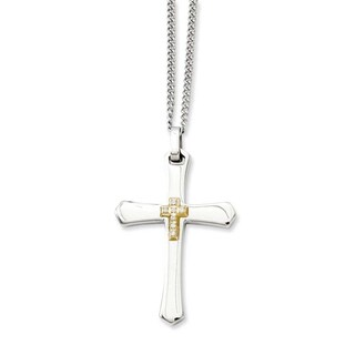Stainless Steel & 14k with Diamonds Cross Pendant 22in Necklace (2 mm) - 22 in