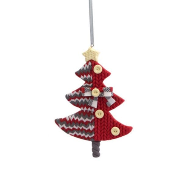 """4.75"""" Alpine Chic Red, White and Gray Knit Style Christmas Tree Ornament"""