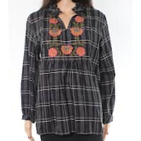 Angie Black Womens Size Medium M Floral Embroidered Plaid Knit Top