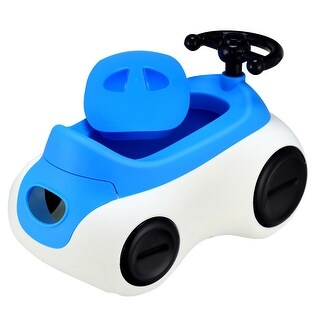Costway Car-Shape Potty Training Seat Toddlers Toilet Detachable Non-Slip with Drawer - Blue