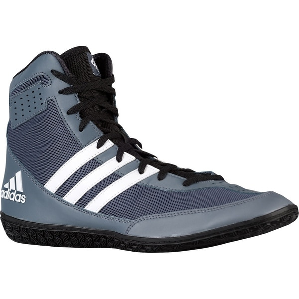 a8d8cd7b933fc5 Shop Adidas Mat Wizard 3 High Top Wrestling Shoes - Gray Black White ...