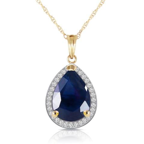 5.26 Carat 14K Solid Gold Gemstone Necklace Natural Diamond Sapphire