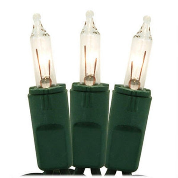 Set of 100 Clear Perm-O-Snap Mini Christmas Lights - Green Wire