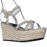Alice and Olivia Rachel Espadrille Platform Sandals, Cream/Black - 9.5 us / 39.5 eu