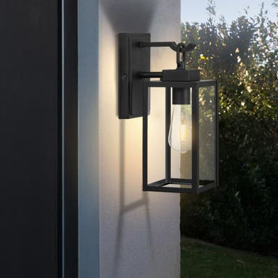 "Matt Black 13.58""H Outdoor Wall Lantern with Dusk to Dawn"