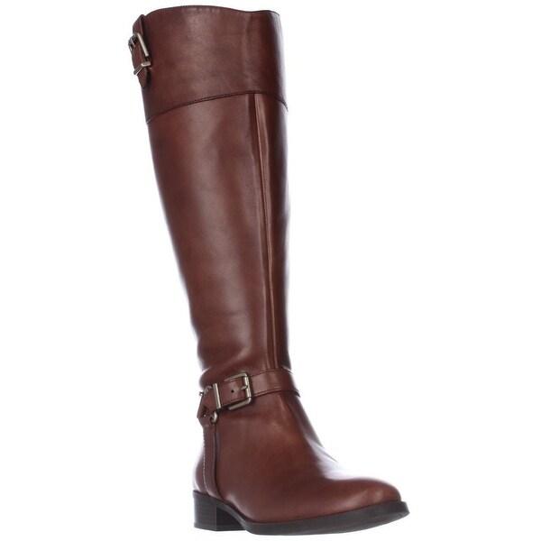 I35 Fedee Harness Strap Wide Calf Riding Boots, Cognac