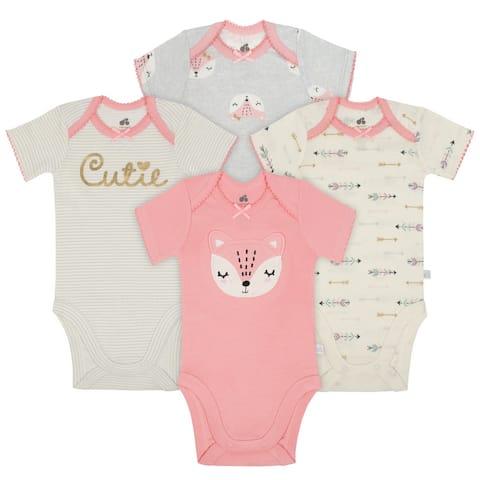 Just Born Baby Girl Fox 4-Pack Organic Short-Sleeve Bodysuits