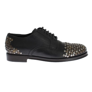 Dolce & Gabbana Black Leather Gold Silver Studded Shoes - 44