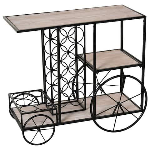 HomCom 16-Bottle Mobile Bar Cart with Wine Rack Storage, Featuring an Elegant Design & Three Shelves for Storage/Display