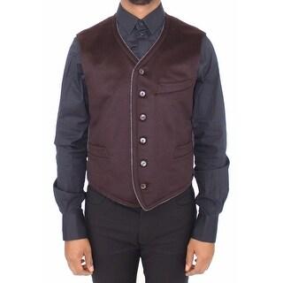 Dolce & Gabbana Dolce & Gabbana Brown Cashmere Dress Vest Blazer Jacket - it48-m
