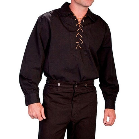 Scully Western Shirt Mens Old West Pull Over Long Sleeve Lacing