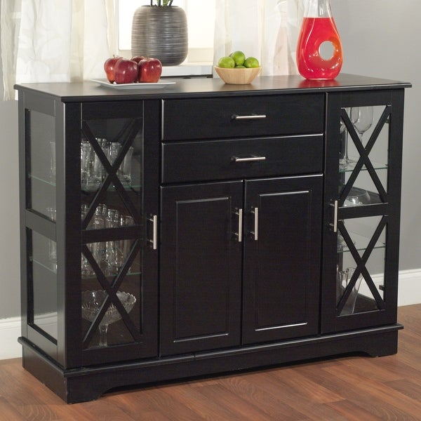Black Wood Buffet Dining-room Sideboard with Glass Doors. Opens flyout.