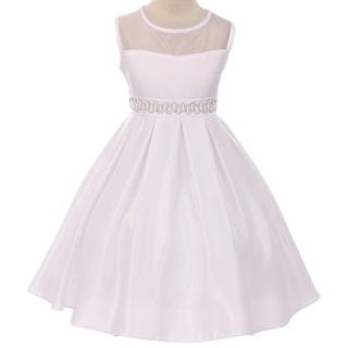 Flower Girl Dress See Through Shoulder Rhinestone Belt White GG 3574