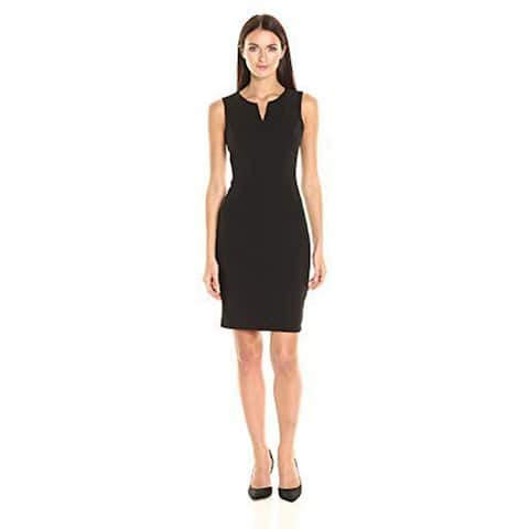 Calvin Klein Women's Sleeveless Seamed Sheath Dress, Black, 10