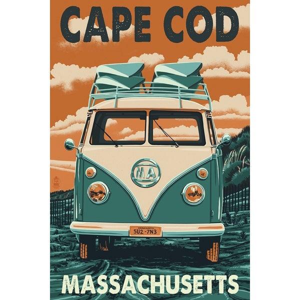 Cape Cod, MA - VW Van Letterpress- LP Artwork (Art Print - Multiple Sizes)