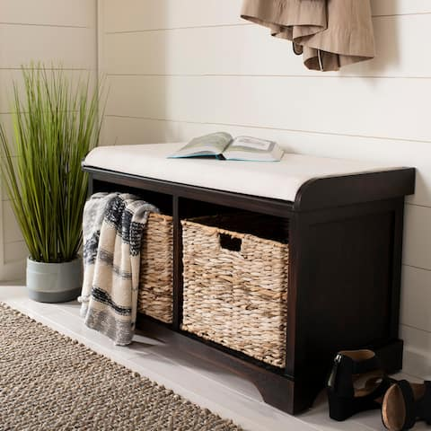 "Safavieh Freddy Brown Woven Storage Basket Bench - 33.5"" x 16.1"" x 19.9"""