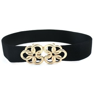 Metal Interlocking Buckle Elastic Belt for Women Lady